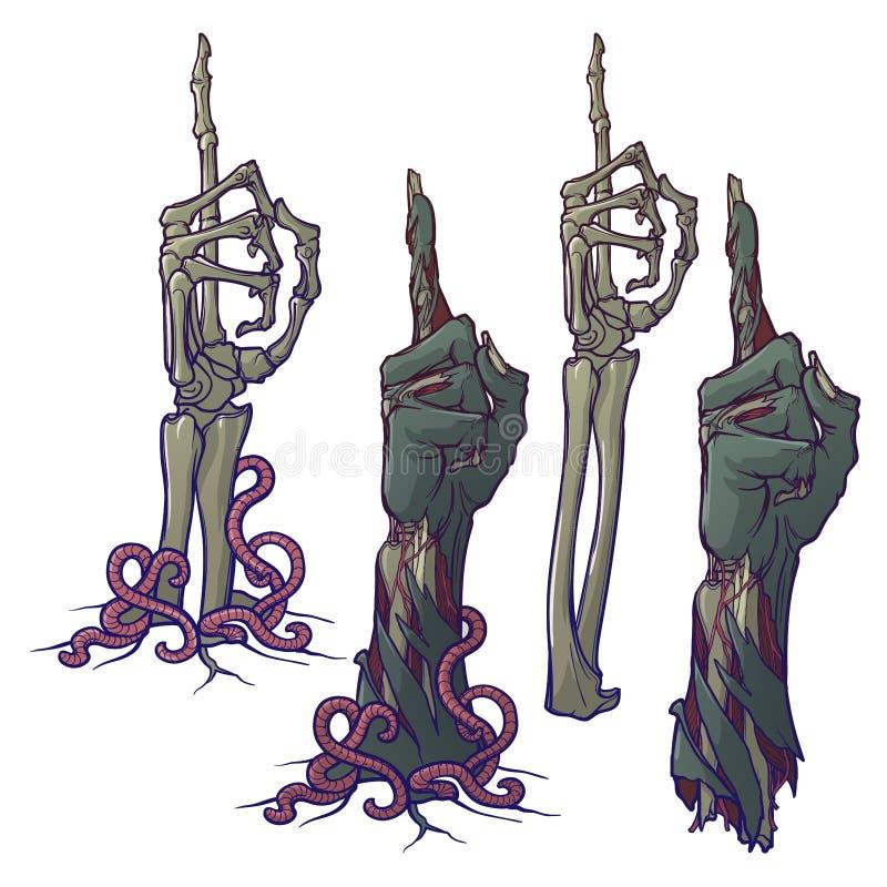 Linguagem corporal do zombi Apontando o dedo acima Grupo de rotting descrito vivo ilustração stock