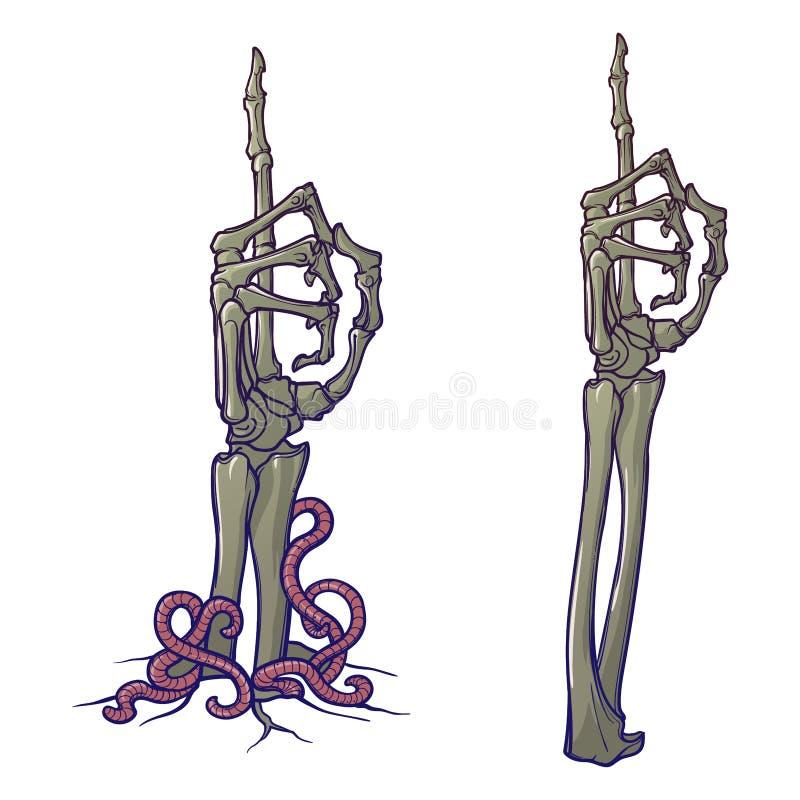 Linguagem corporal do zombi Apontando o dedo acima Pares de aumentação de esqueleto das mãos ilustração do vetor