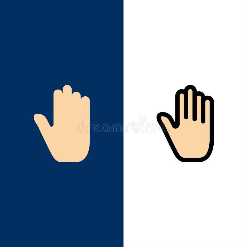 Linguagem corporal, gestos, mão, relação, ícones O plano e a linha ícone enchido ajustaram o fundo azul do vetor ilustração stock