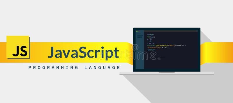 Linguagem de programação do Javascript com código do roteiro na tela do portátil, ilustração do código de linguagem de programaçã ilustração royalty free