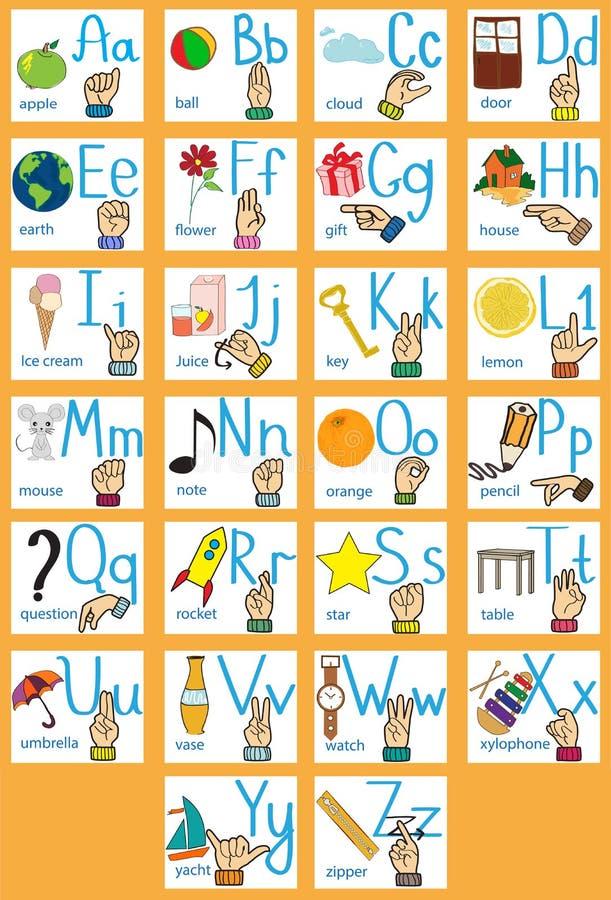 Linguagem gestual e alfabeto Letras dos desenhos animados alfabeto inglês creativo Conceito de ABC ilustração stock