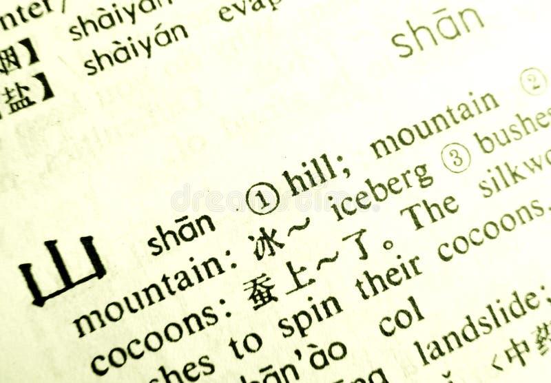 Linguaggio del cinese della montagna di parola fotografia stock