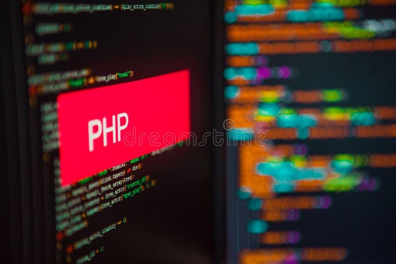 Linguaggio di programmazione, iscrizione del PHP sui precedenti del codice macchina immagine stock libera da diritti