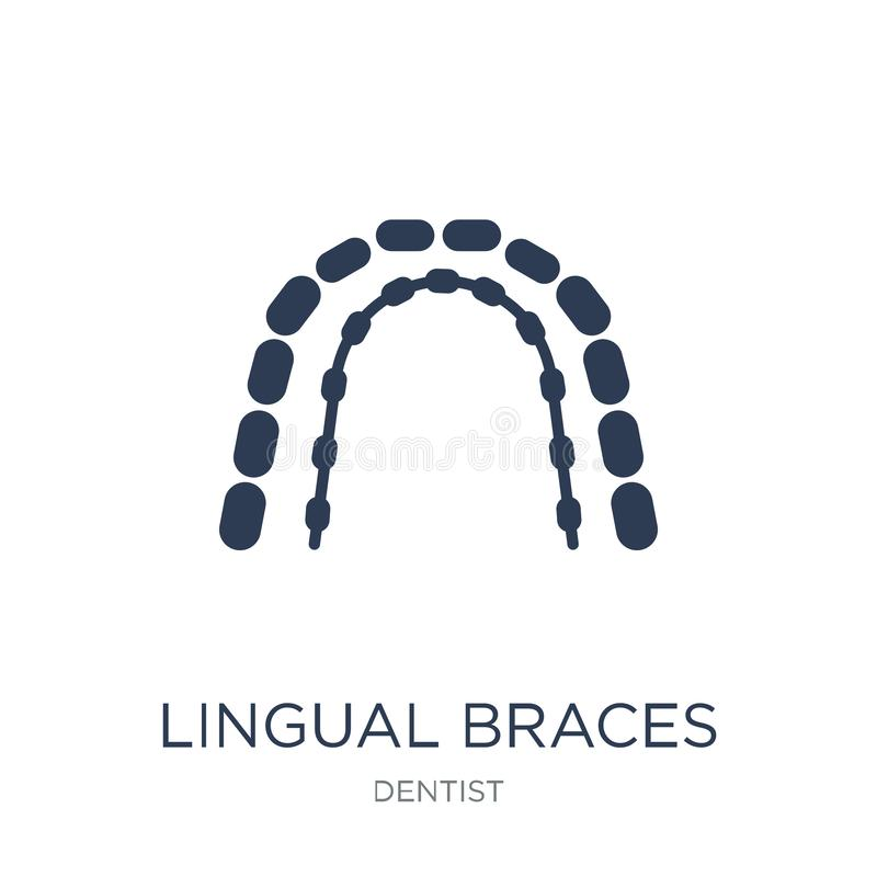 Lingual braces icon. Trendy flat vector Lingual braces icon on w stock illustration