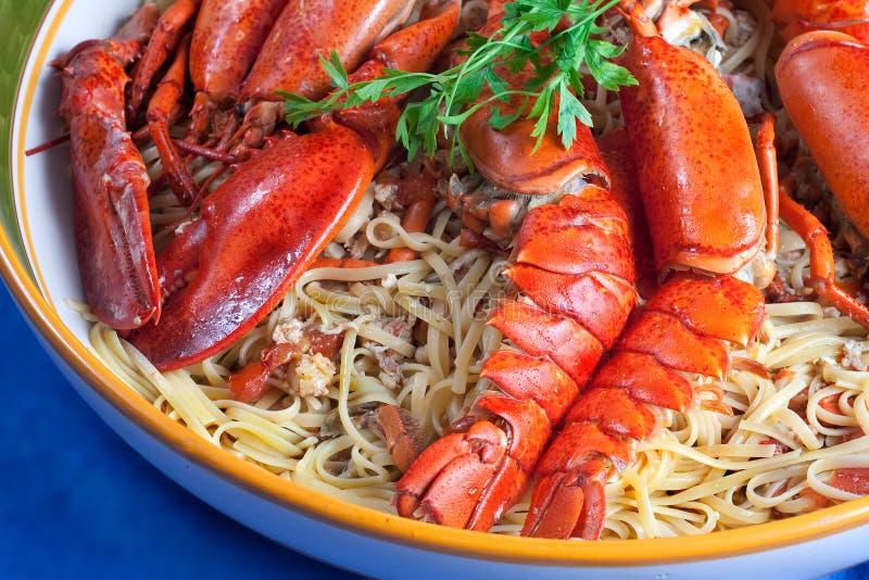 Linguine com lagosta fotografia de stock royalty free