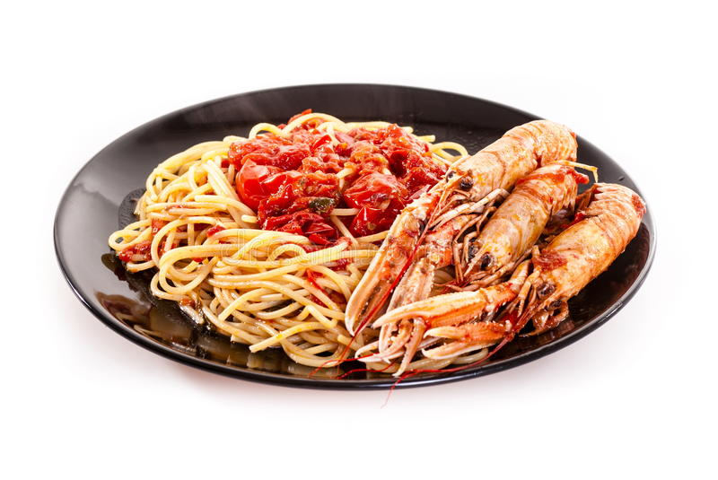 Linguine com scampi fotos de stock