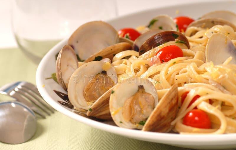 Linguine con la salsa del mollusco immagine stock