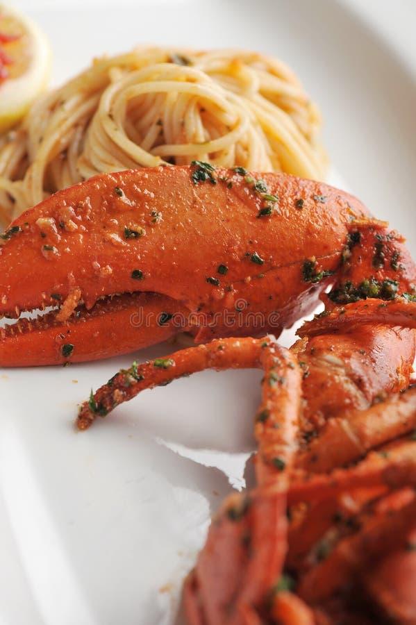 Linguine da massa do marisco da lagosta imagens de stock
