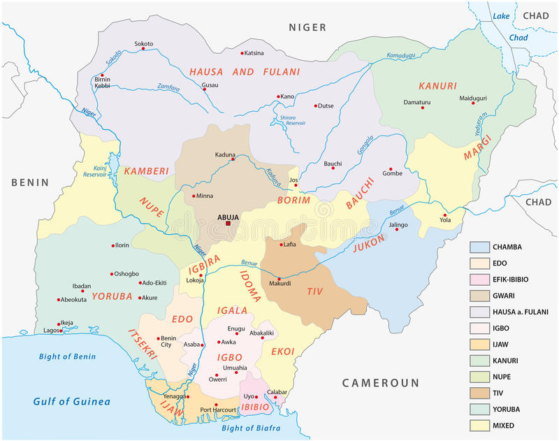 Lingustic map of nigeria royalty free illustration