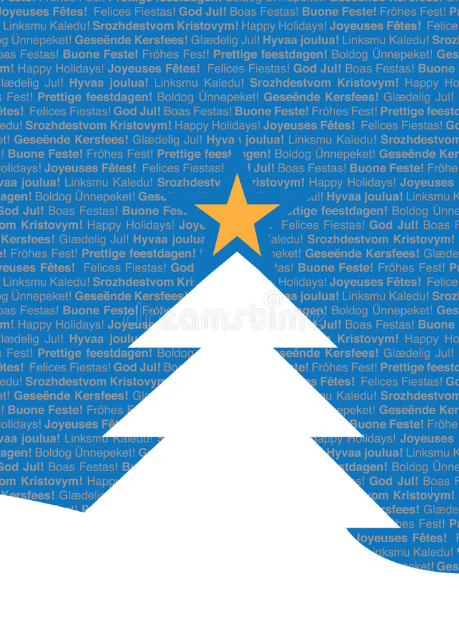 lingval mång- texttree för jul stock illustrationer