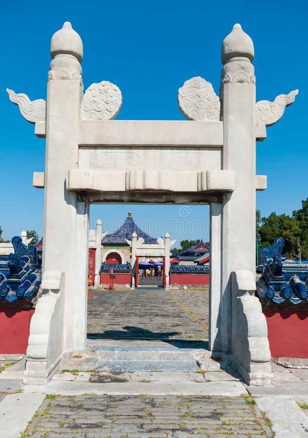 Lingxing port av det runda kullealtaret i komplexet templet av himmel i Peking, Kina arkivfoto