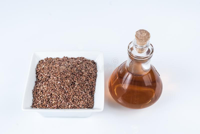 Linhaça das sementes de linho para impedir doenças e controlar o excesso de peso foto de stock