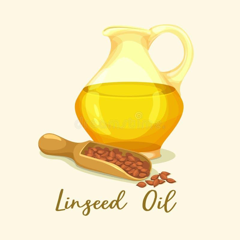 Linhaça ou flaxseed, óleo do linho na garrafa perto das grões ilustração royalty free