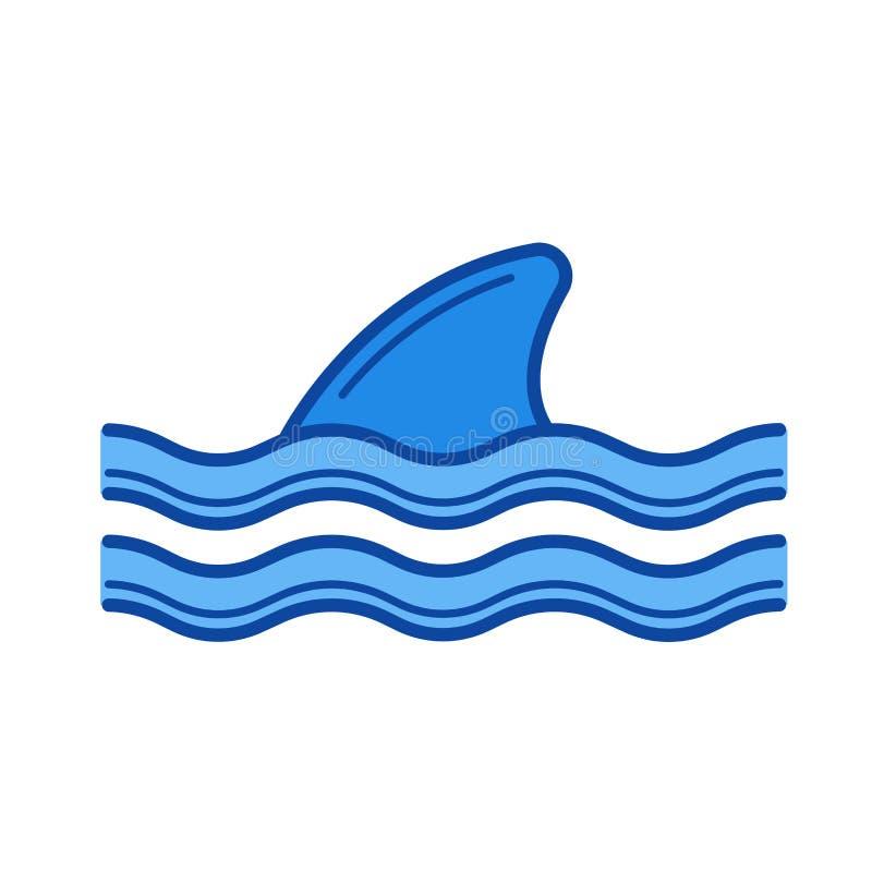Linha à superfície da àgua ícone da aleta do tubarão ilustração do vetor