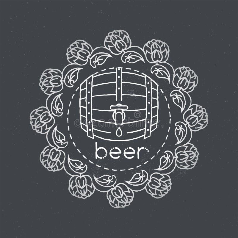Linha áspera llustration do tambor de cerveja do vetor ilustração do vetor