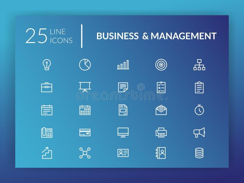 Linha ícone ajustado para o negócio e a gestão ilustração royalty free