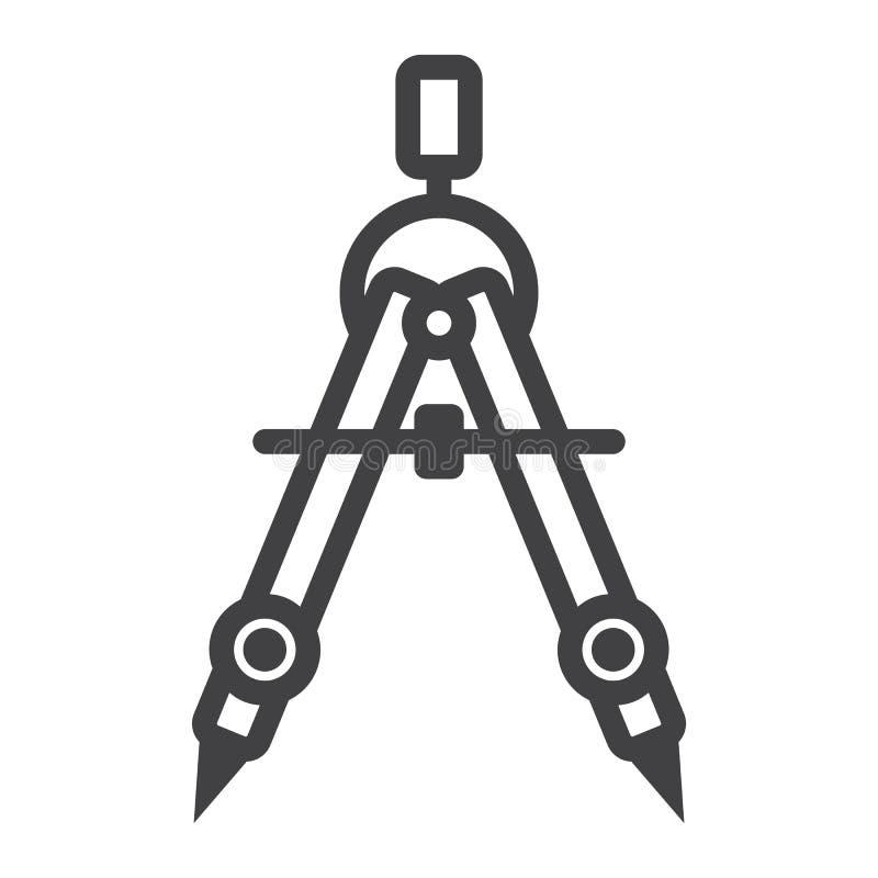 Linha ícone, arquiteto e geometria do divisor ilustração stock