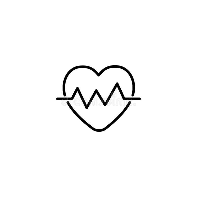 Linha ícone Cardiograma do coração, pulsação do coração ilustração royalty free