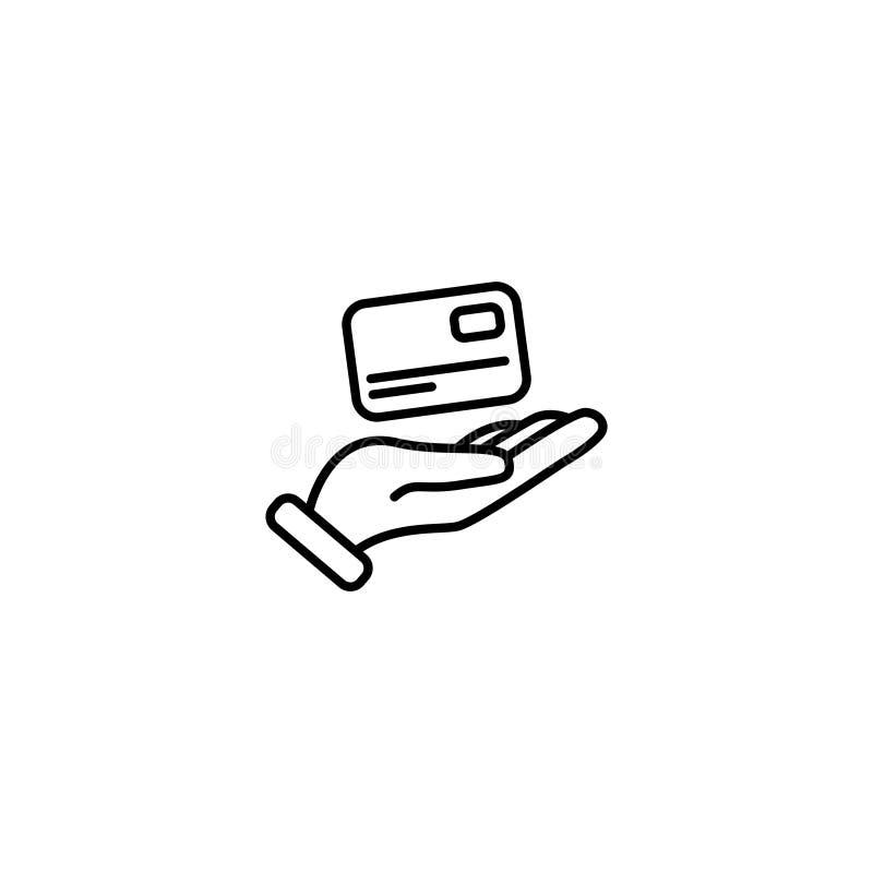 Linha ícone Cartão de crédito disponivel ilustração stock