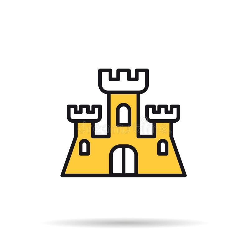 Linha ícone - castelo da areia ilustração royalty free
