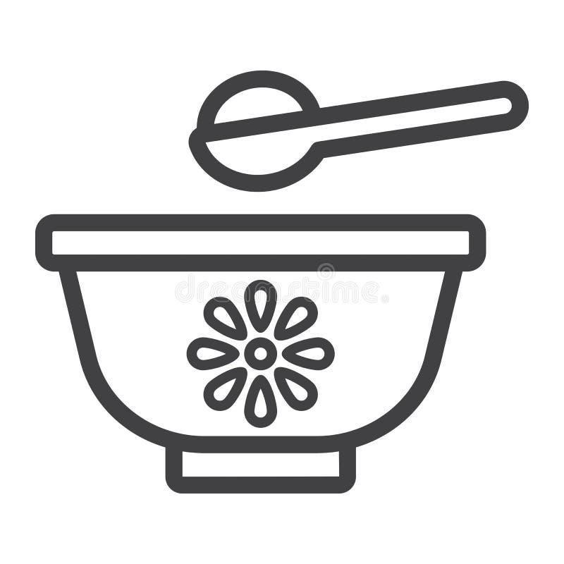 Linha ícone, comida para bebê e nutrição da bacia do bebê ilustração stock