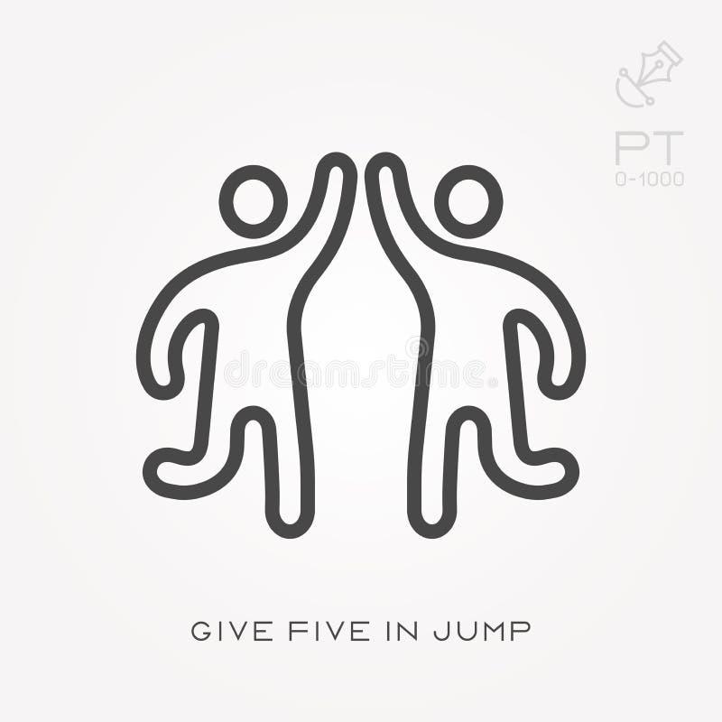A linha ?cone d? cinco no salto ilustração do vetor