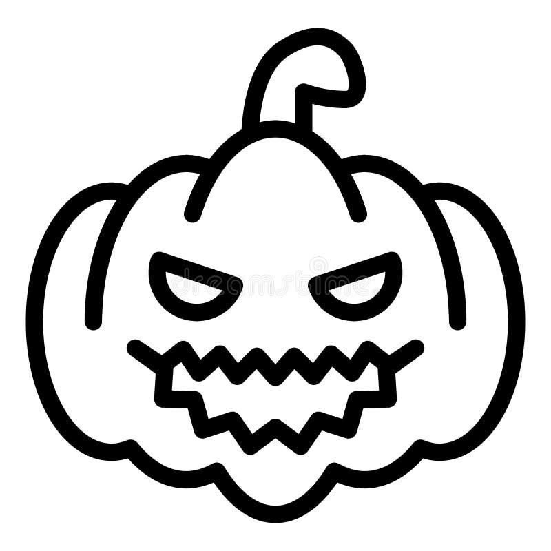 Linha ícone da abóbora Ilustração do vetor da cabaça isolada no branco Projeto do estilo do esboço da polpa, projetado para a Web ilustração royalty free