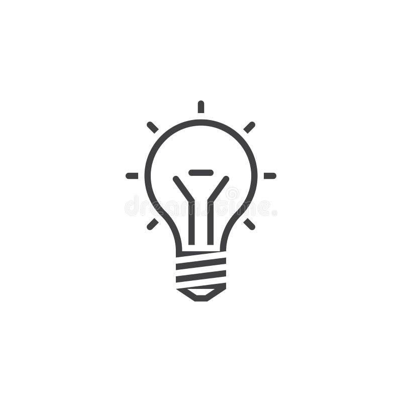 Linha ícone da ampola, ilustração do logotipo do esboço da ideia, linha ilustração do vetor