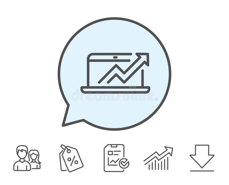 Linha ícone da análise de dados e das estatísticas Computador ilustração stock