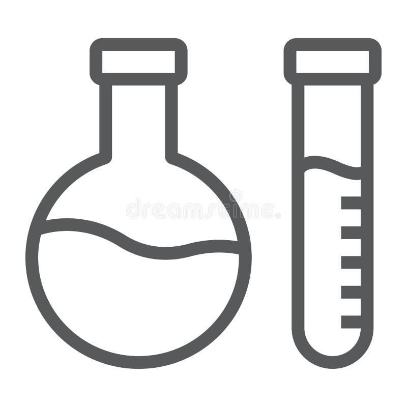 Linha ícone da análise química, laboratório e garrafa, sinal do teste do tubo, gráficos de vetor, um teste padrão linear em um br ilustração stock