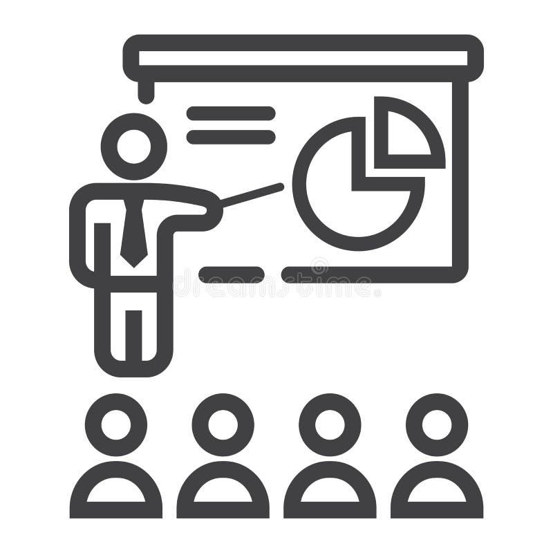 Linha ícone da apresentação do treinamento, negócio ilustração royalty free