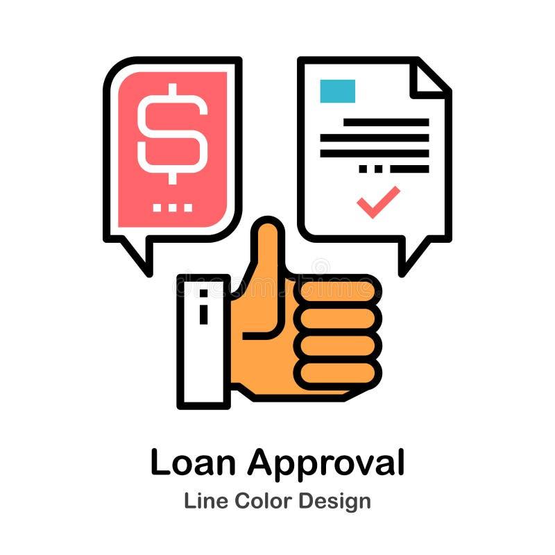 Linha ícone da aprovação de empréstimo da cor ilustração stock