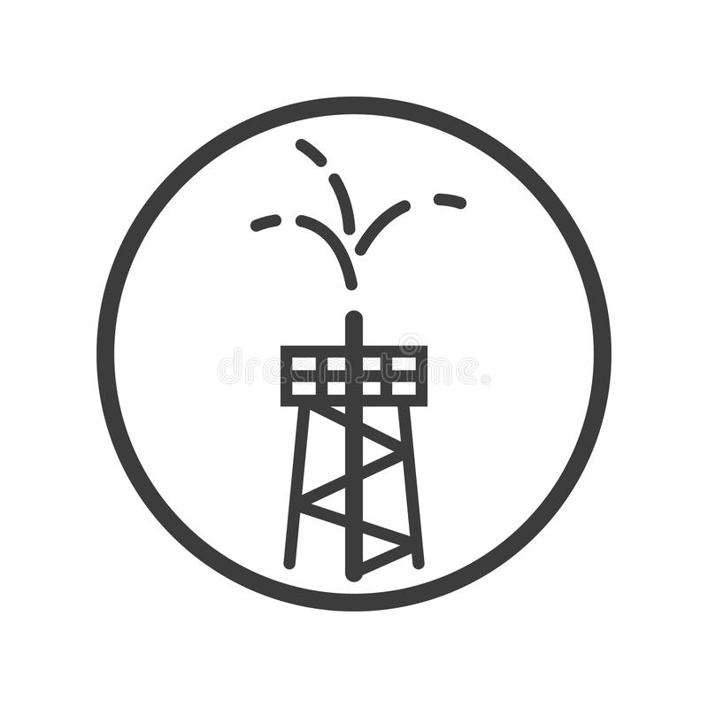 Linha ícone da arte da torre da fonte do óleo no quadro redondo ilustração stock