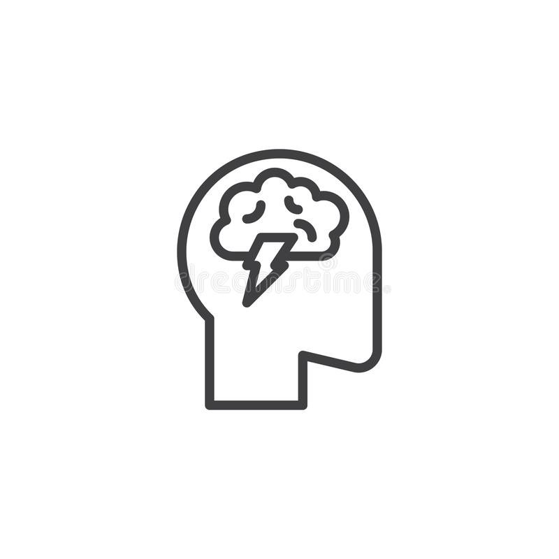 Linha ícone da atividade de cérebro ilustração royalty free