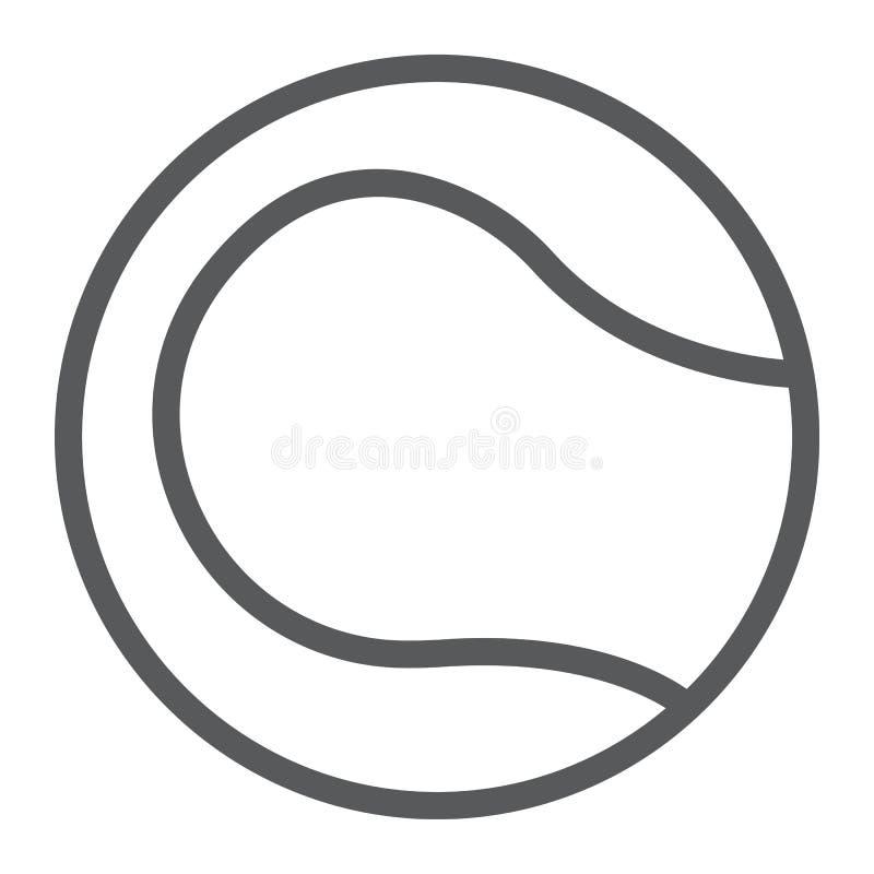 Linha ícone da bola de tênis, jogo e esporte, sinal da bola ilustração stock