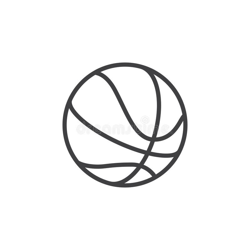 Linha ícone da bola do basquetebol, sinal do vetor do esboço, pictograma linear do estilo isolado no branco ilustração stock