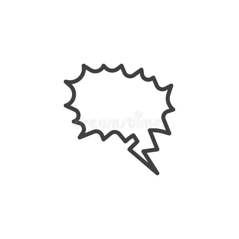 Linha ícone da bolha do discurso da gritaria ilustração do vetor