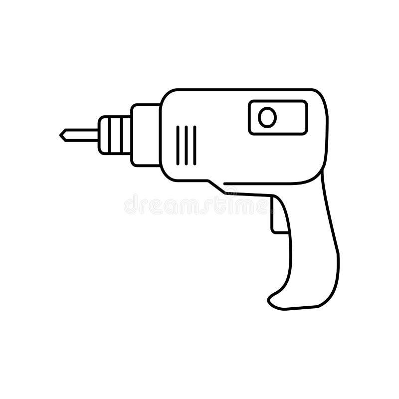 Linha ícone da broca ilustração stock