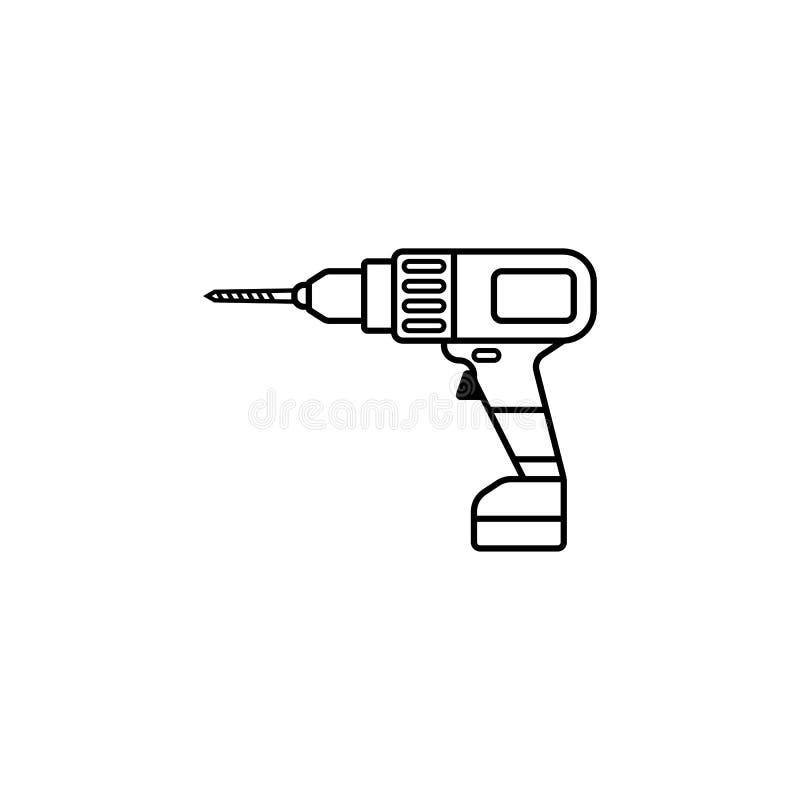 Linha ícone da broca elétrica, reparo da construção ilustração do vetor