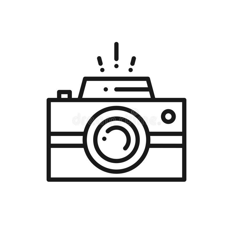 Linha ícone da câmera Logotipo da fotografia Câmara digital ilustração stock