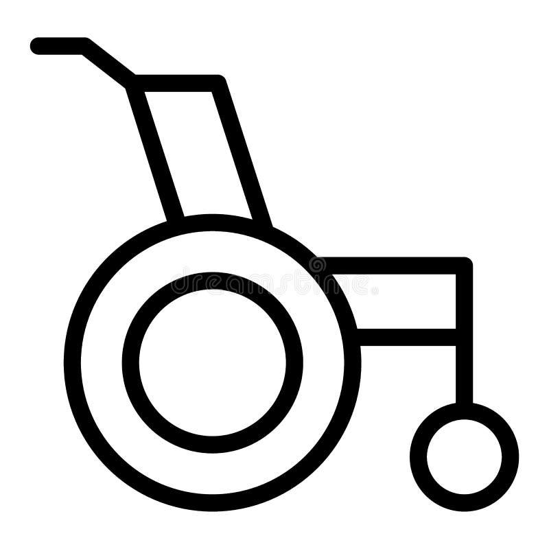 Linha ícone da cadeira de rodas Cadeira de rodas para a ilustração deficiente do vetor isolada no branco Projeto do estilo do esb ilustração do vetor