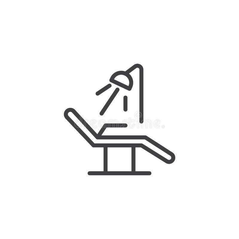 Linha ícone da cadeira do dentista ilustração royalty free