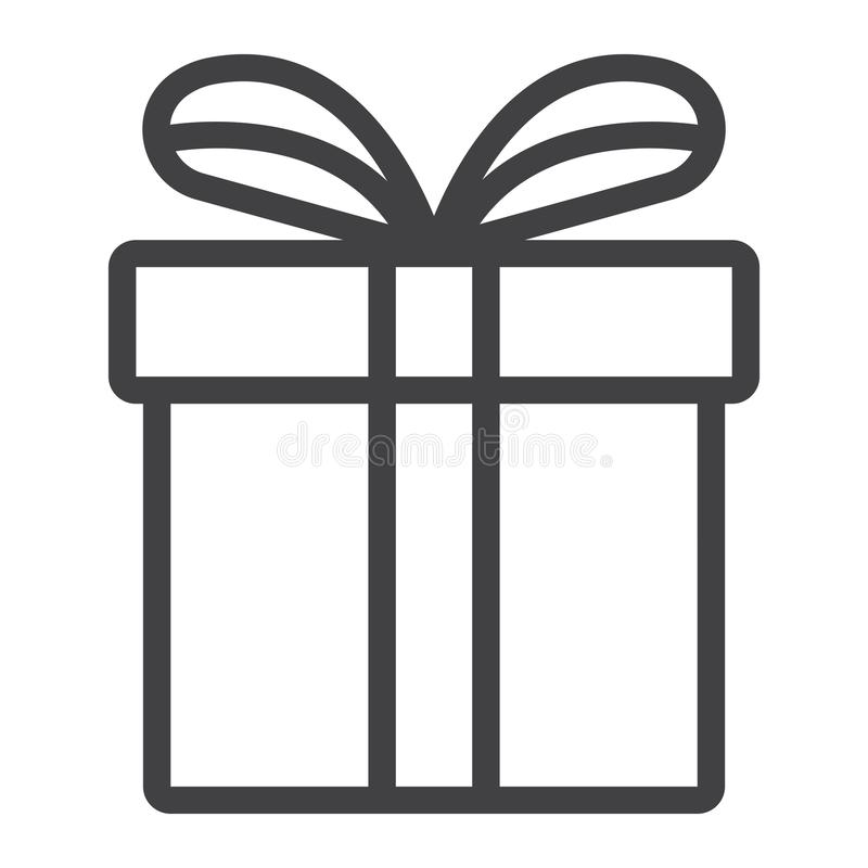 Linha ícone da caixa de presente do Natal, Natal do ano novo