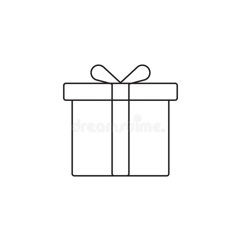 Linha ícone da caixa de presente, ilustração do logotipo do vetor do esboço, PIC linear ilustração stock