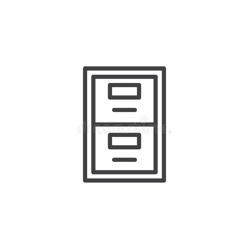 Linha ícone da caixa do arquivo ilustração stock