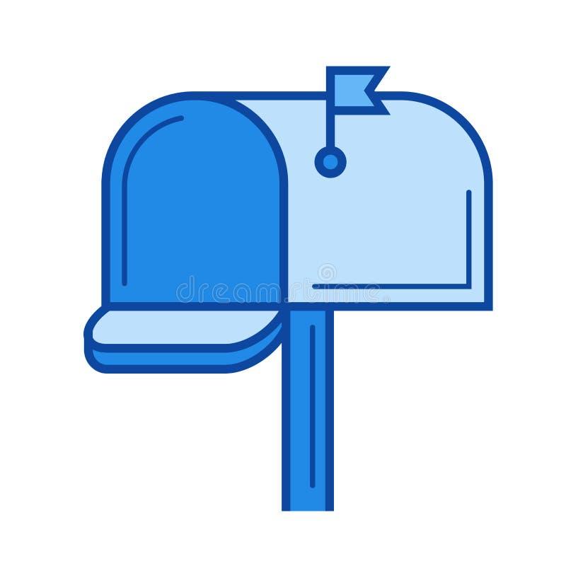 Linha ícone da caixa postal ilustração stock