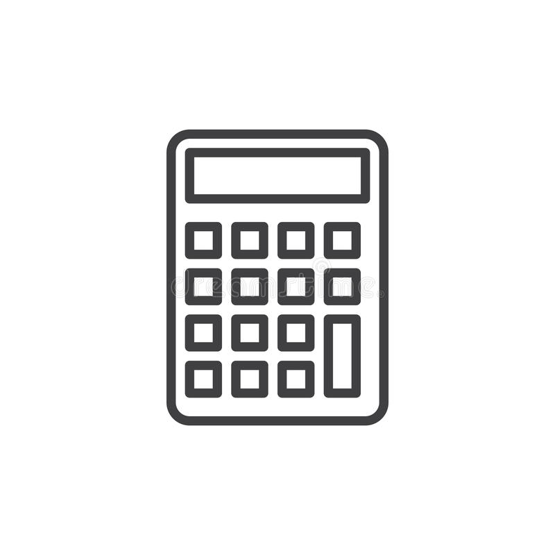 Linha ícone da calculadora, sinal do vetor do esboço, pictograma linear do estilo isolado no branco ilustração stock