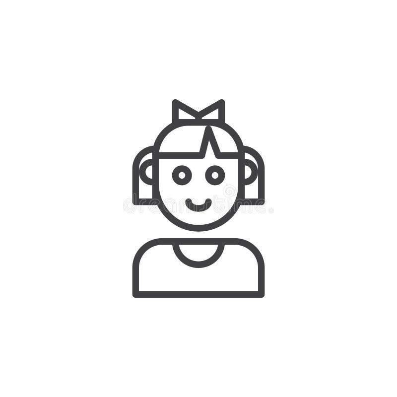 Linha ícone da cara da menina da criança ilustração stock