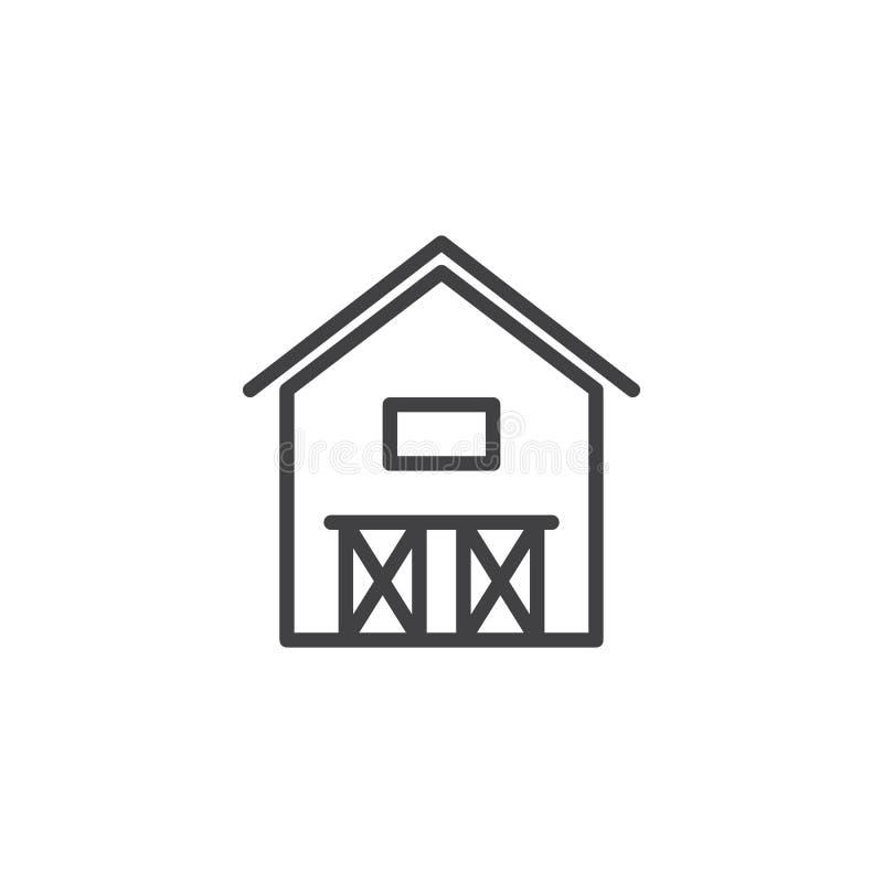 Linha ícone da casa do celeiro ilustração royalty free