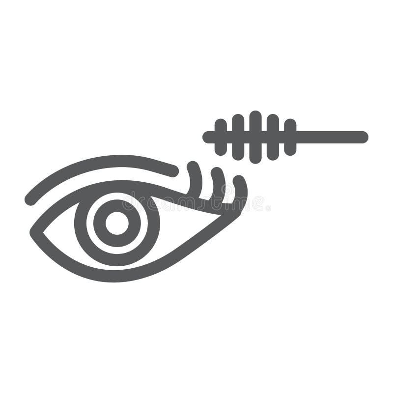 Linha ícone da composição do olho, beleza e composição, sinal da escova do rímel, gráficos de vetor, um teste padrão linear em um ilustração do vetor